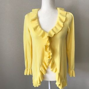 Lilly Pulitzer Yellow ruffle Cardigan Sweater Med